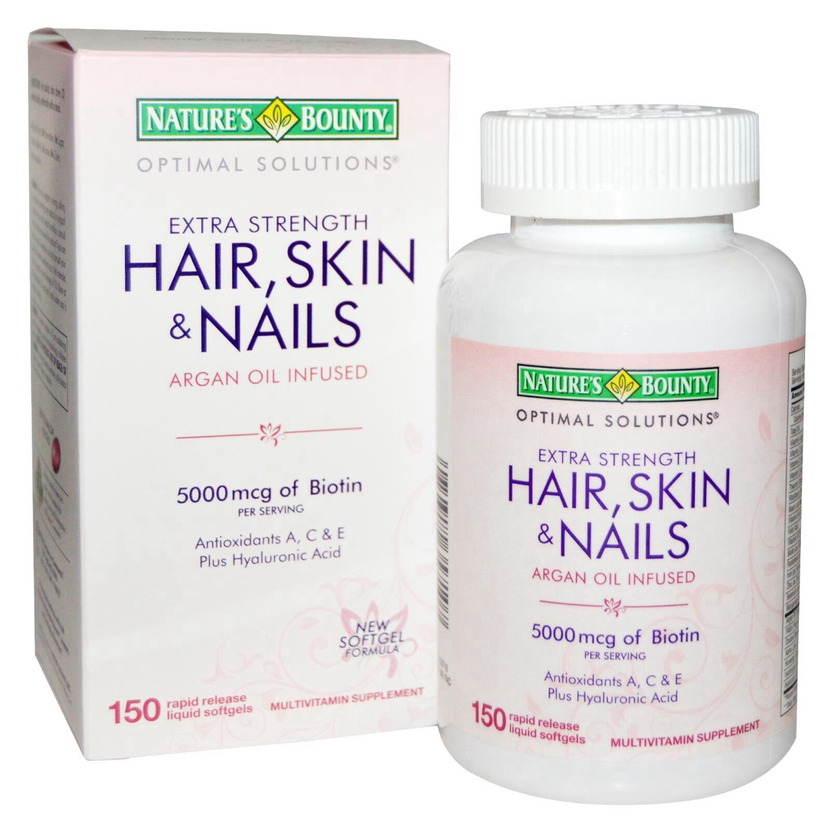 NATURE\'S BOUNTY HAIR, SKIN & NAILS 5,000 mcg of Biotin 150 caps ...